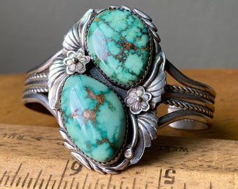 Vintage 2-Stone Turquoise Nugget Sterling Silver Navajo Foliate Cuff