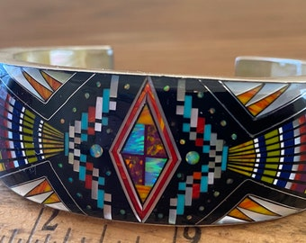 Spectacular Double-Sided Zuni Micro-Inlay Cuff Bracelet, Kachina Dancer and Cosmos, Size medium