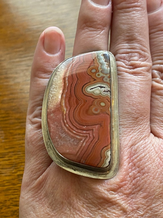 Remarkable Extra-large Crazy Lace Agate and Sterling Silver Navajo Ring, Adjustable from sizes 7 - 10