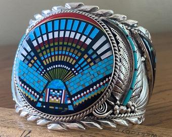 Spectacular Zuni Micro-Inlay Cuff Bracelet, Kachina Dancer and Cosmos, Size Large