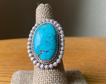 Vintage Navajo Ring with Kingman Turquoise, Size 7
