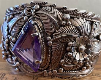 Spectacular Navajo Sterling Silver & Amethyst Foliate Cuff Bracelet by J Delgarito