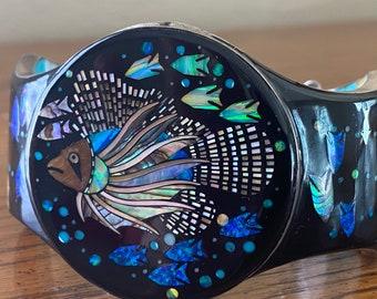 Spectacular Zuni Micro-Inlay Cuff Bracelet, Lionfish & Coral Reef, Size Medium