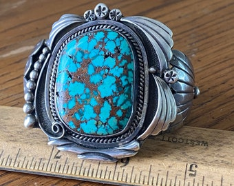 Spectacular Navajo Spiderweb Turquoise Sterling Silver Cuff Bracelet by T. Begay