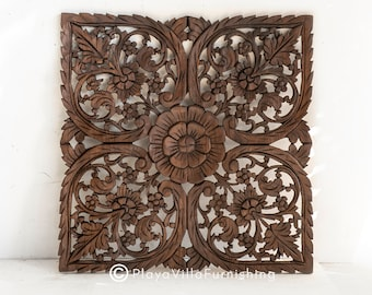 Teak Wood Wall Relief Panel Hand Carved Floral Decal Oak Color Decorative Mandala sculpted Farmhouse Home Decor from Thailand, 24 inches