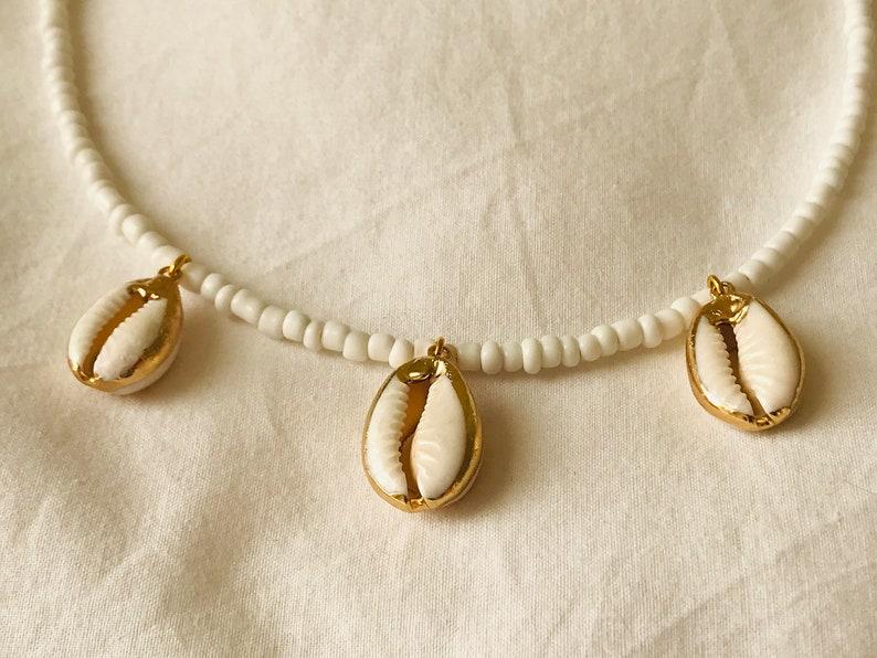 Sea Shell Choker Festival Necklace Boho Cowrie Shell Necklace Ibiza Beach Choker for Her Seed Bead Necklace