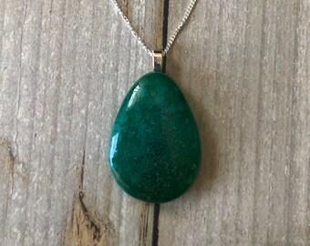 Green teardrop shaped pendant, fused glass