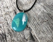Turquoise fused glass pendants with dichroic glass