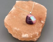 Pink and purple fused glass pendant
