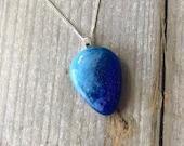 Blue teardrop shaped pendant, fused glass