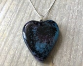 Inky black, lavender, turquoise and fuchsia fused glass pendant, large, heart shaped