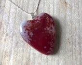 White and red heart shaped large fused glass pendant