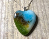Cyan blue, yellow, green and white, fused glass pendant, large heart