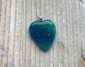 Blue and green heart shaped large fused glass pendant