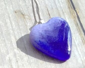 Lavender and cobalt blue fused glass pendant, large, heart shaped