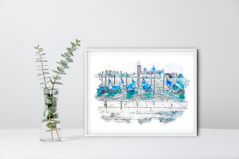 Venice Print & Venice Note Cards Gondolas on the Grand Canal image 0
