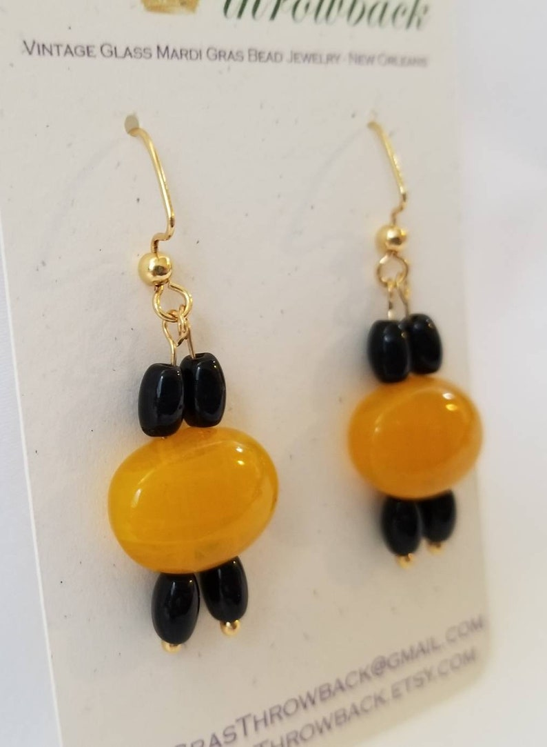 Upcycled! Black and Butterscotch Vintage Mardi Gras Glass Bead Earrings Gold-Plated Brass Angular Ear Wires New Orleans