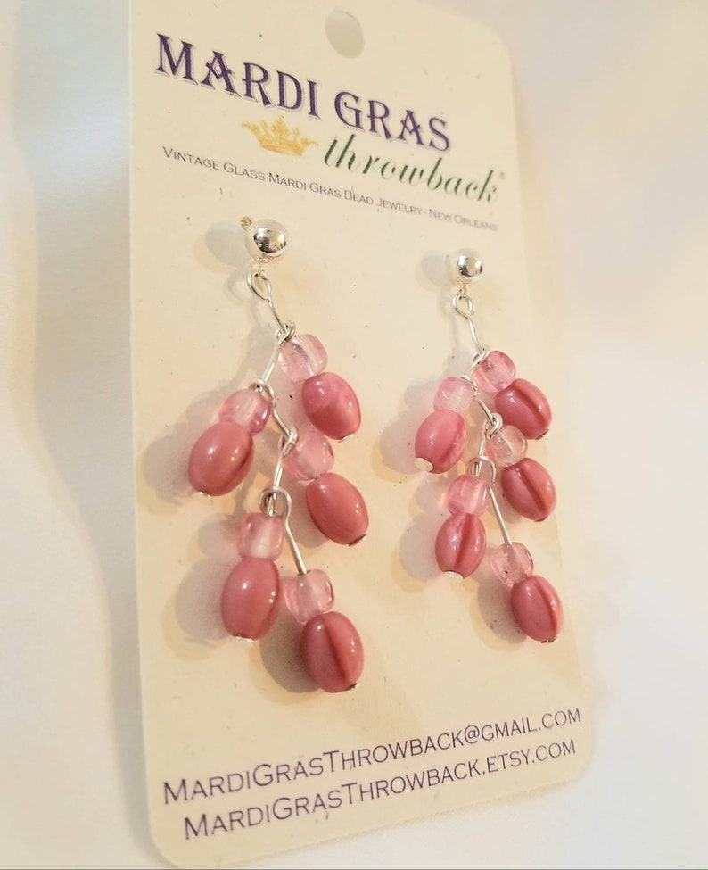 Upcycled! Pink and Silver New Orleans Modern /& Vintage Glass Mardi Gras Bead Earrings