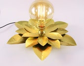Flower lamp, metal lamp, brass, copper. Hammered lamp. Steampunk lighting. Victorian. Unique.