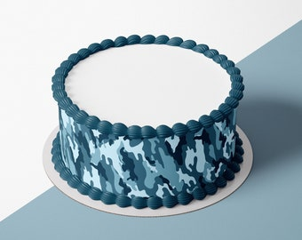 THE HUNT IS OVER Winter Camo Snowy Real Tree Edible Cake Topper Image Wedding