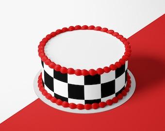 CHECKERBOARD EDIBLE cake decoration sheet topper Strip birthday side Race Car