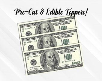 Las Vegas Happy Birthday Money Stack ~ Sheet Cake Topper ~ Edible ~ D22773