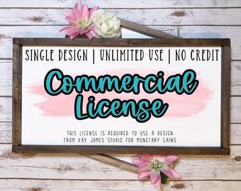 SVG Commercial License / Single Design / Unlimited Use / No Credit