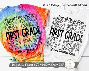 First Grade Echo SVG / Back to School SVG / Teacher SVG / Digital Cut File {Font included for Personalization}