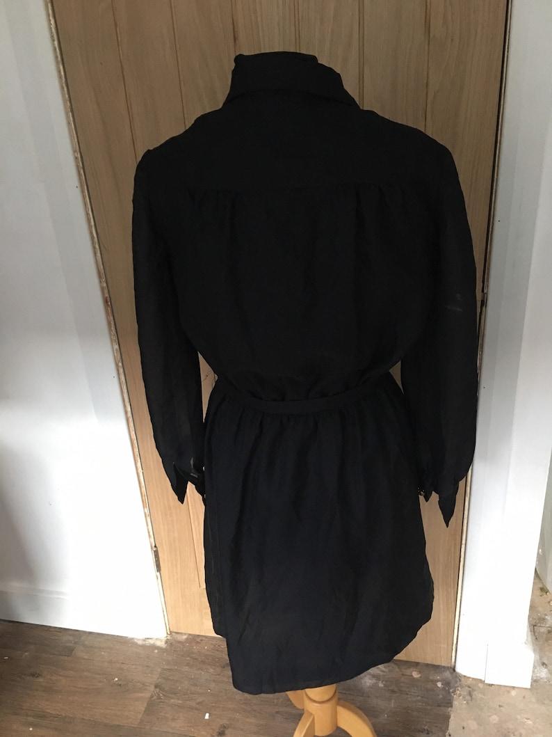 Vintage Black Shirt Style Dress Approx UK Size 12-14 See Measurements