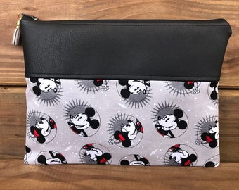 makeup organizer bag baby gift Mickey and Minnie inspired small zipper pouch baby organizer pencil pouch gift for her pencil case