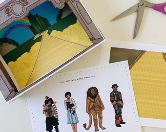 The Wiz Printable Paper Puppet Theater Set African American Characters Kids Digital Download The Wizard of Oz