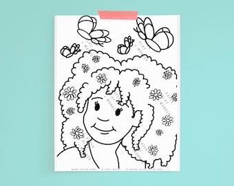 Coloring Page African American Girl Flowers in Natural Hair Black Girl Art
