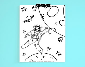 Coloring Page African American Girl Astronaut in Space Printable Digital Download