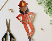 Articulated Firefighter Paper Doll/Puppet African American Girl Printable Digital Download