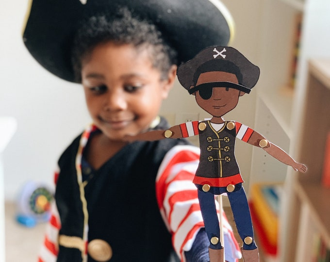 Featured listing image: Articulated Pirate Paper Doll/Puppet African American Boy Printable Digital Download