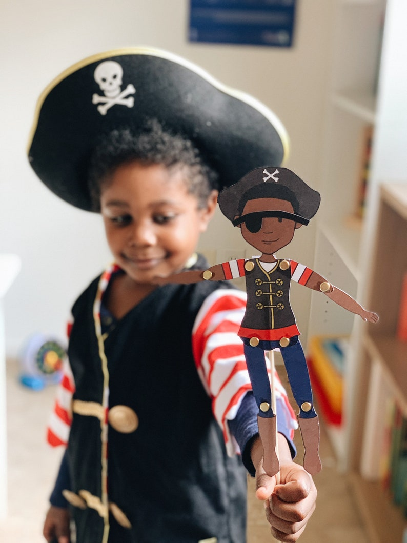 Articulated Pirate Paper Doll/Puppet African American Boy image 0