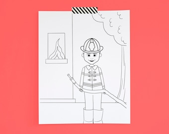 Coloring Page Firefighter African American Boy Printable Digital Download