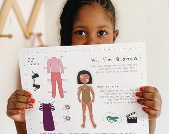 African American Girl Paper Doll Printable Digital Download Bianca