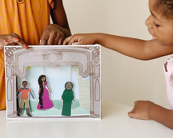 Rapunzel Fairy Tale Story Printable Paper Puppet Theater Set African American Characters Kids Digital Download
