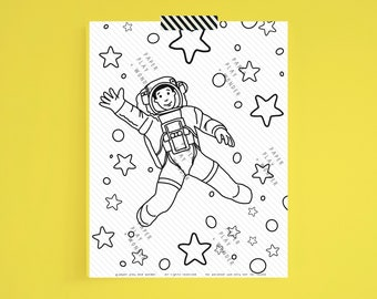 Coloring Page African American Boy Astronaut in Space Printable Digital Download