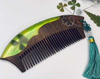 Wooden Epoxy Resin Comb with Handle Wooden Hair Comb with Ariel Mermaid Design