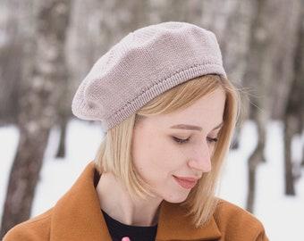 Handmade Merino Wool Classy Light Gray Beret Stylish Spring Cap for Women Best Mothers Day Gift