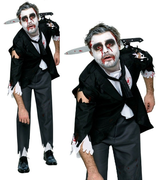 Ladies Mens Bloody Dead Zombie Halloween Face Mask Fancy Dress Costume Accessory