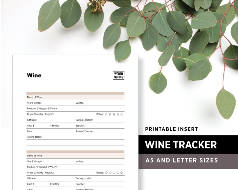 Wine Tasting Tracker and Log  Printable Insert  Memory image 1