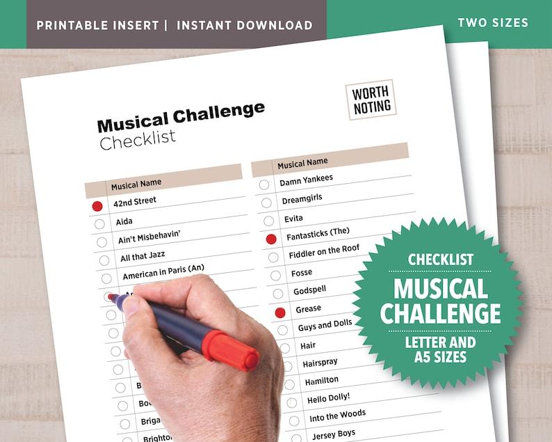 Musical Challenge Checklist 80 Musicals Listed  Adventure image 1