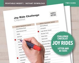 Joy Ride Challenge Checklist • Adventure Tracker • Printable Checklist • Bucket List • Modes of Transportation • A5 + Letter Size
