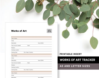 Works of Art Tracker and Memory Log • Printable Insert • Adventure Tracker • Bucket List • Worth Noting Journal • A5 + Letter Size