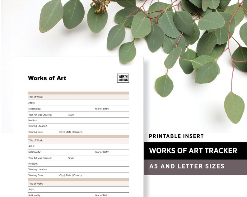 Works of Art Tracker and Memory Log  Printable Insert  image 1