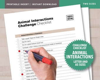 Animal Interactions Printable Challenge Checklist — 50 Ideas • Adventure Tracker + Memory Log • A5 + Letter Size • Animal Lovers Bucket List