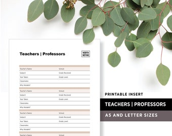 Teachers and Professors Worth Noting • Memory Tracker + Log • Printable Insert • Worth Noting Journal • A5 + Letter Size • Adventure Tracker